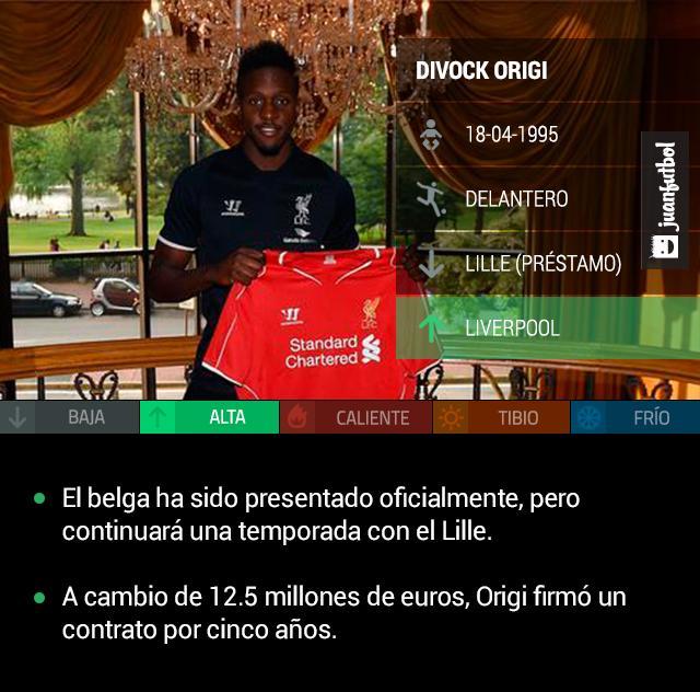 Origi posa con la camiseta del Liverpool