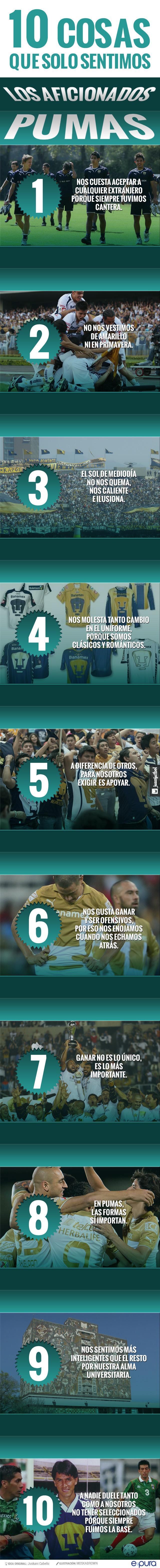infografía sobre las 10 cosas que solo sienten los aficionados a Pumas