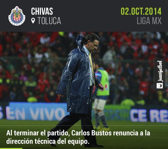 Carlos Bustos presenta renuncia tras derrota 3-1 con Toluca en la jornada 11 de la Liga Mx.