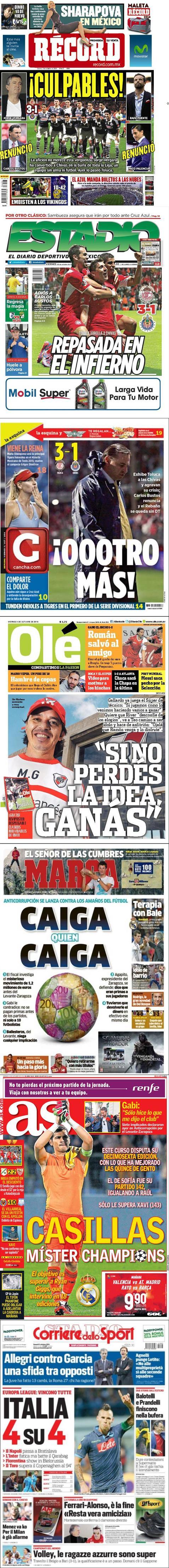 Diarios de México destacan la derrota de las Chivas 3-1 ante Toluca, la renuncia de Carlos Bustos y la posición de Chivas en la porcentual.