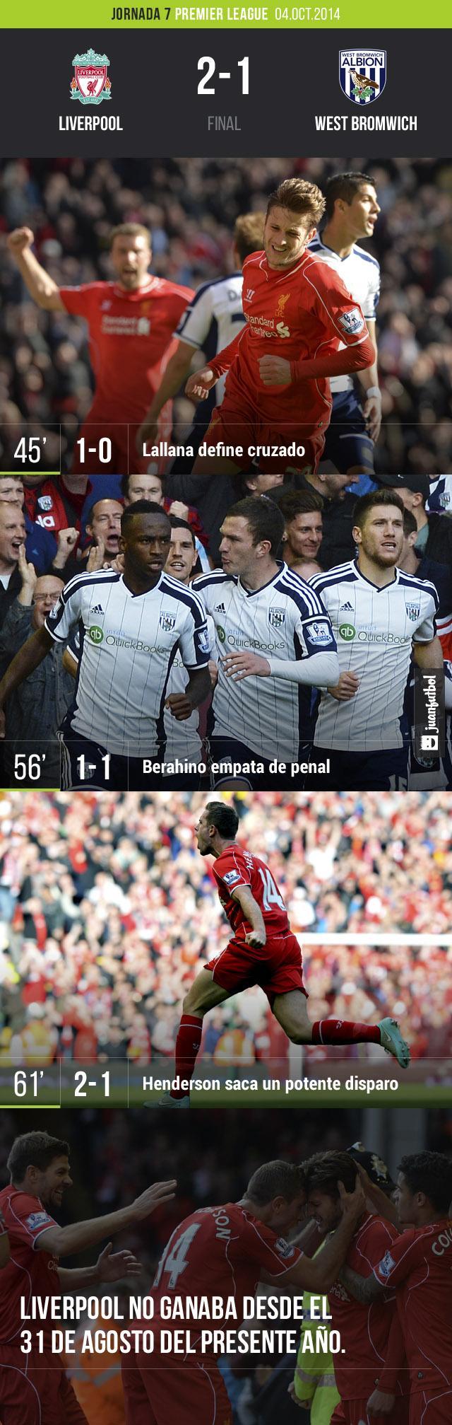 Liverpool derrota 2-1 al West Bromwich con goles de Lallana y Henderson. Berahino puso el empate.