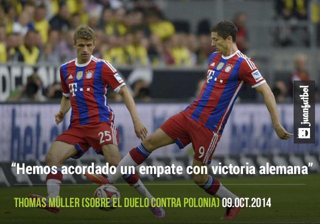 Thomas Müller bromea con Lewandowski sobre el partido contra Polonia