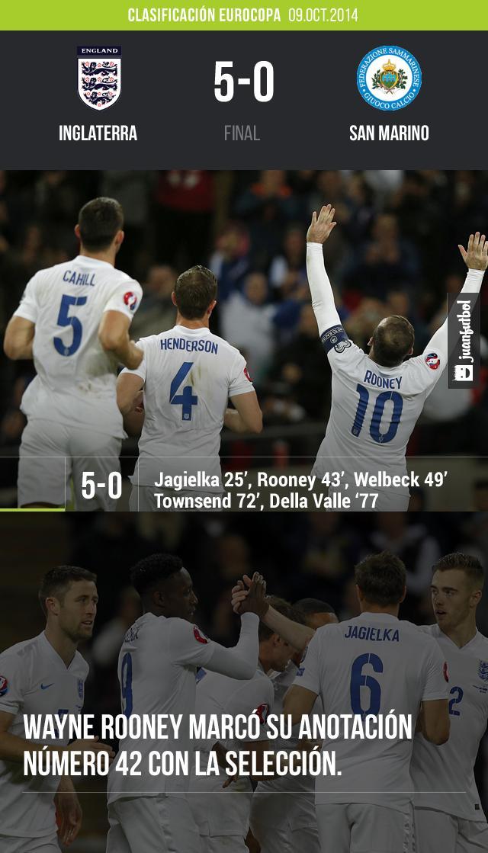 inglaterra venció 5-0 a San Marino como parte de los partidos de clasificación para le Eurocopa. Jagielka, Rooney, Welbeck y Townsend fueron los anotadores.