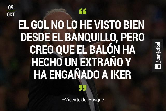 Vicente del Bosque defiende a Iker Casillas al decir que el balón le ha hecho un extraño y lo ha engañado en el primer gol de Eslovaquia