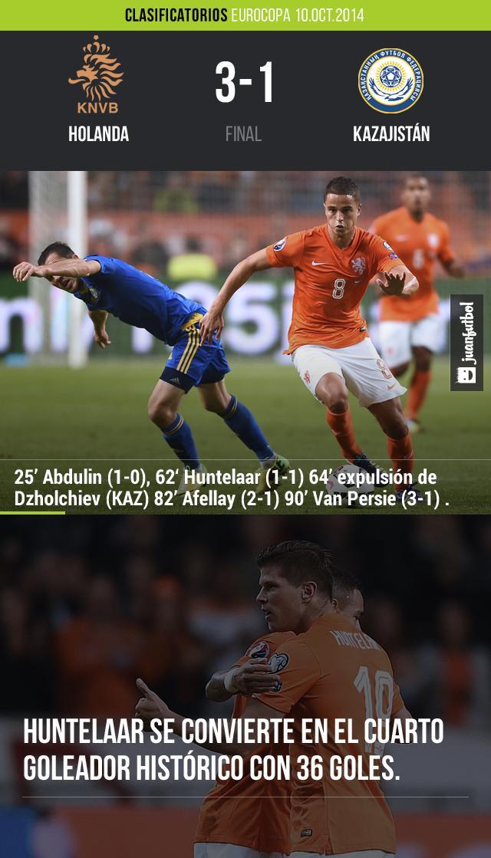 Holanda vence 3-1 a Kazajistán en duelo clasificatorio para la Eurocopa del 2016. Huntelaar, Afellay y van Persie fueron los autores de las anotaciones.