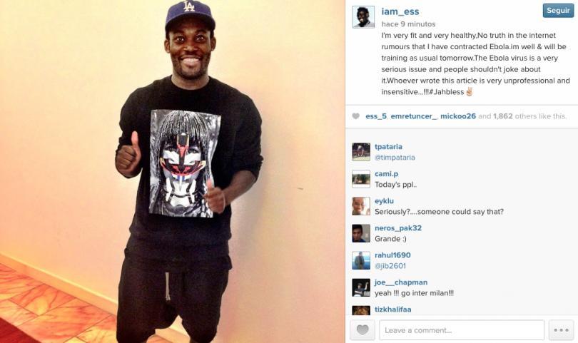 Michael Essien desmiente tener bola a través de su cuenta de Instagram
