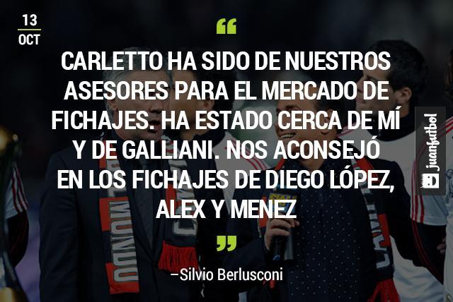 Berlusconi reveló que Ancelotti le ha aconsejado en fichajes como el de Diego López para Milan