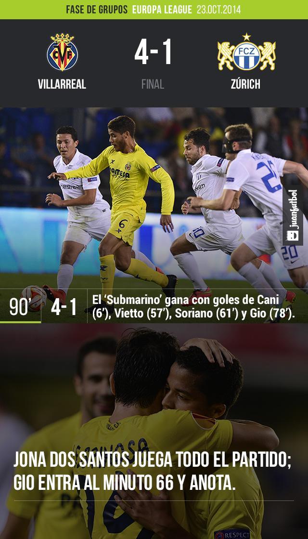 Villarreal vence 4-1 al Zúrich en el Madrigal; Giovani dos Santos colabora con el cuarto gol, mientras que Jona juega todo el partido.