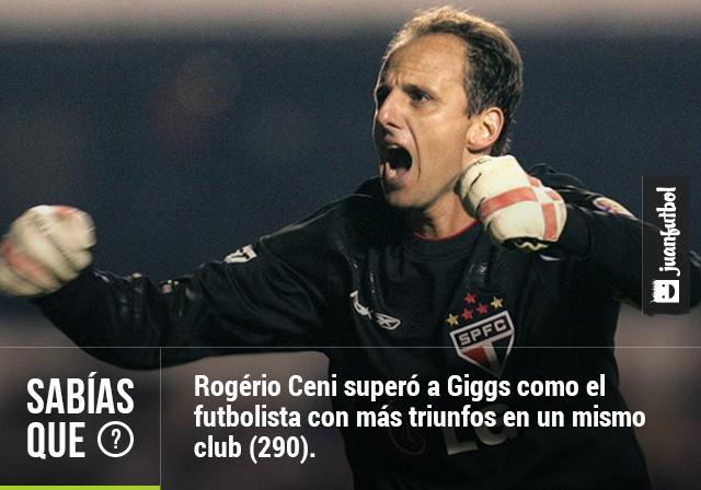 Rogério Ceni superó a Giggs como el futbolista con más triunfos en un mismo club (290).
