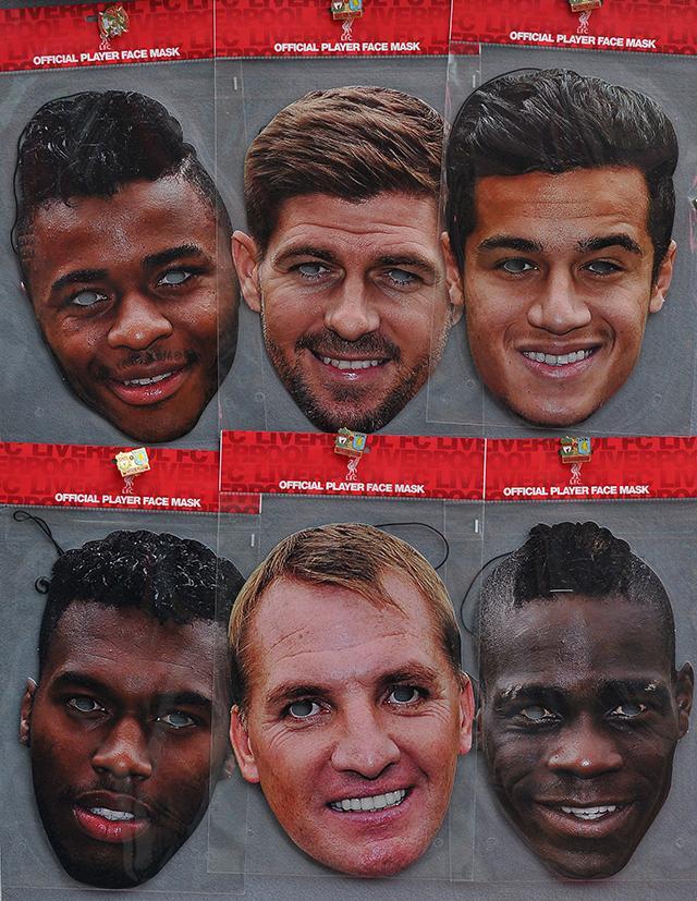 Máscaras para Halloween con las caras de los jugadores del Liverpool