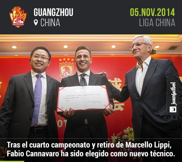 Fabio Cannavaro ha sido elegido como nuevo técnico del Guangzhou, que era dirigido por Marcello Lippi.