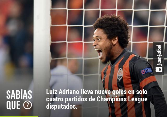 Luiz Adriano lleva nueve goles en solo cuatro partidos de Champions League disputados.