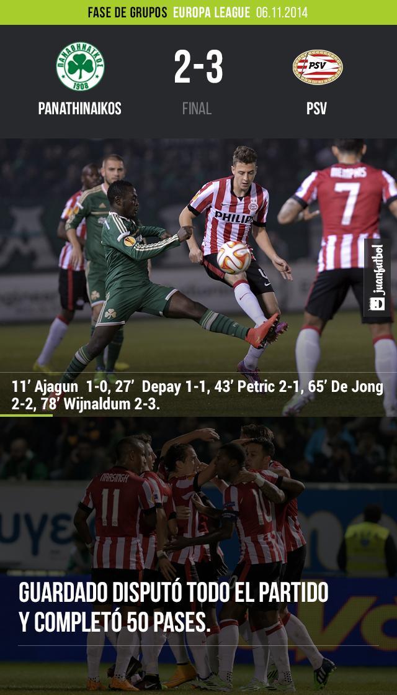 El PSV se lleva la victoria en su visita al Panathinaikos.