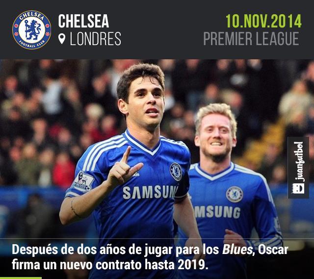 Oscar firma contrato con el Chelsea hasta 2019.