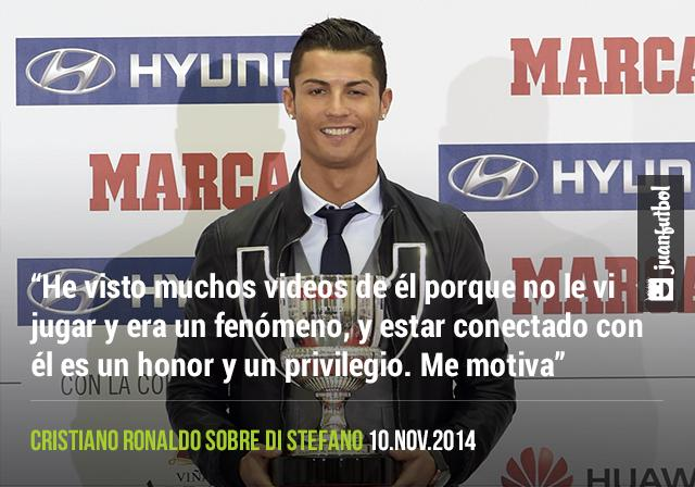 Cristiano Ronaldo se siente contento por ser comparado con Alfredo Di Stefano porque era un fenómeno.