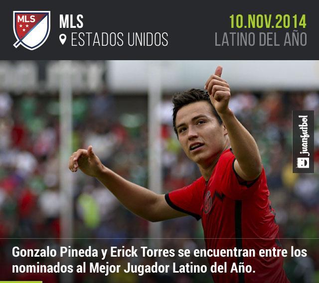 Erick Torres y Gonzalo Pineda se encuentran entre los nominados al Mejor Jugador Latino del Año.