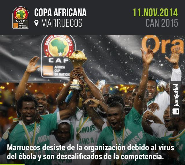 Marruecos desiste de la organización de la Copa Africana de Naciones debido al virus del ébola y son descalificados de la competencia.