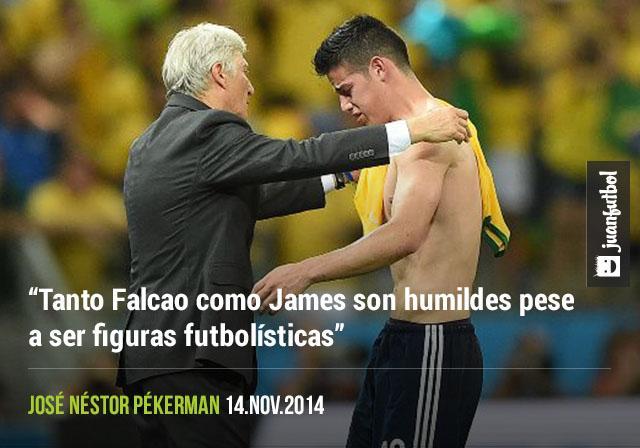 """""""Tanto Falcao como James son humildes pese a ser figuras futbolísticas"""", José Néstor Pékerman"""