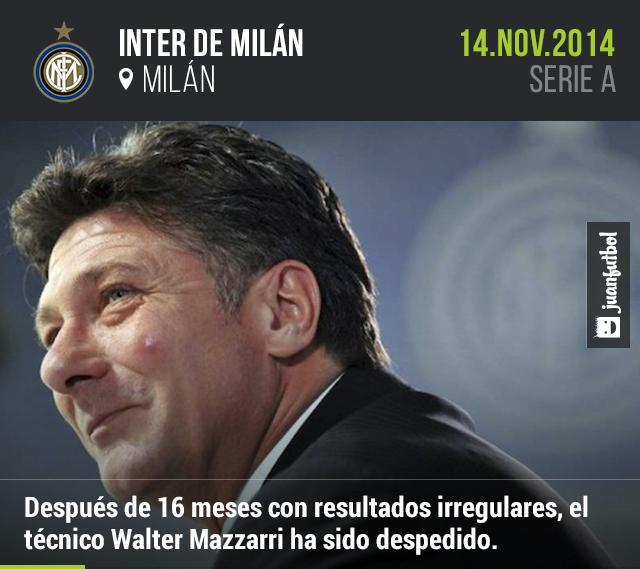 Walter Mazzarri ha sido despedido como técnico del Inter de Milán.