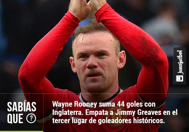 Wayne Rooney llega a 44 goles y se posiciona como el tercer goleador histórico de la Selección de Inglaterra empatado con Jimmy Greaves.