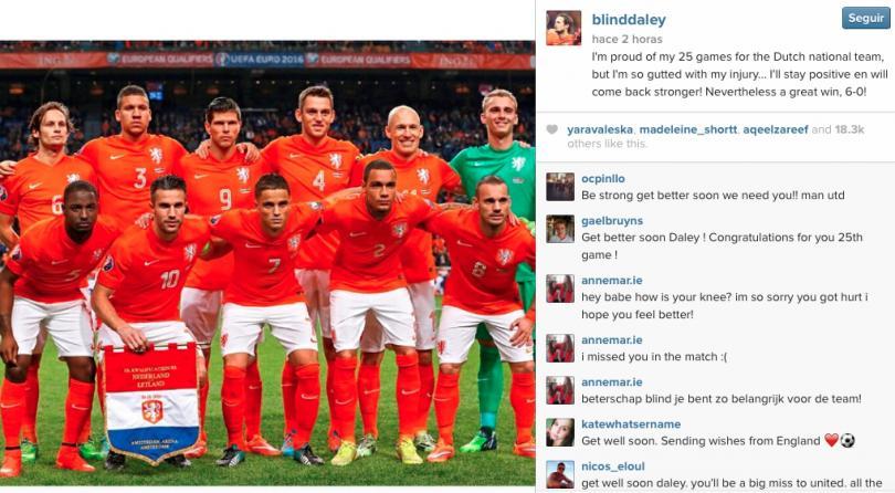 Daley Blind orgulloso de sus 25 juegos como internacional de Holanda pese a su lesión