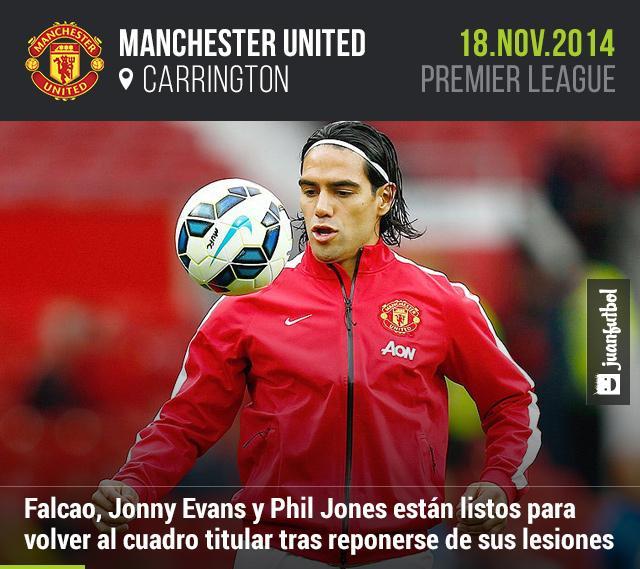 Falcao, Jonny Evans y Phil Jones volverán con Manchester United tras superar sus respectivas lesiones