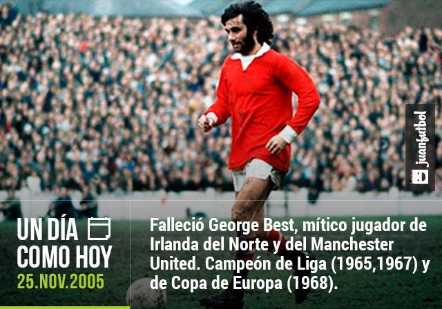 Hace 9 años, falleció George Best, leyenda irlandesa del Manchester United. Campeón de Liga en 1965 y 1967 y de Copa de Europa en 1968.