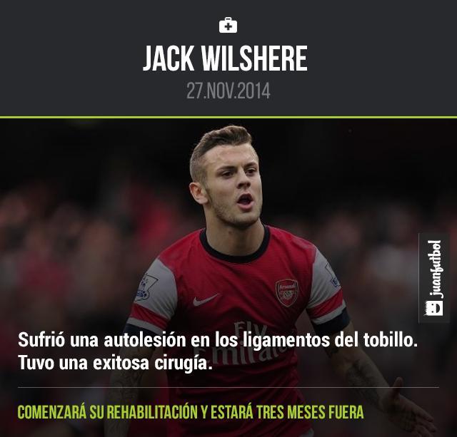 Jack Wilshere estará tres meses fuera.