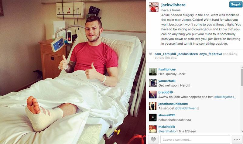 Jack Wilshere se mostró positivo tras su operación de tobillo