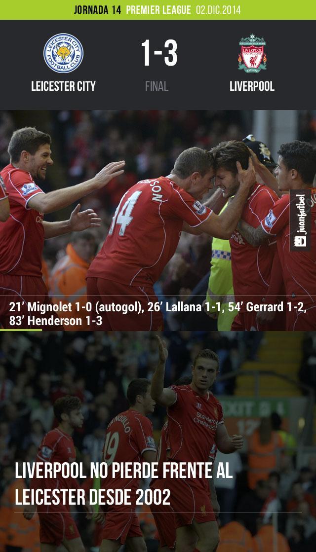 Liverpool derrotó por 3-1 al Leicester City con goles de Jordan henderson, Adam Lallana y Steven Gerrard. Mignolet anotó un autogol.