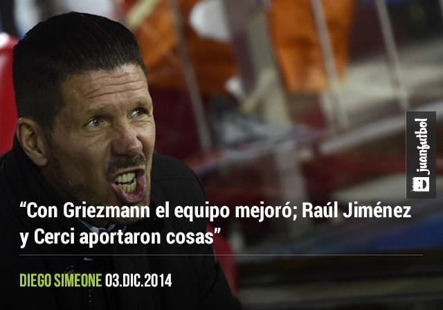Diego Simeone habló de las actuaciones de Griezmann, Jiménez y Cerci en la Copa del Rey