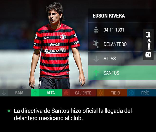 La directiva de Santos hizo oficial la llegada de Edson Rivera al club procedente de Atlas