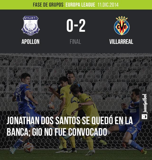 Villarreal venció 0-2 al Apollon. Jonathan dos Santos se quedó en la banca y Gio no fue convocado