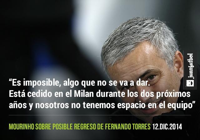 Mourinho dice que es imposible que el Niño Torres regrese al Chelsea porque está cedido por dos años en el Milan
