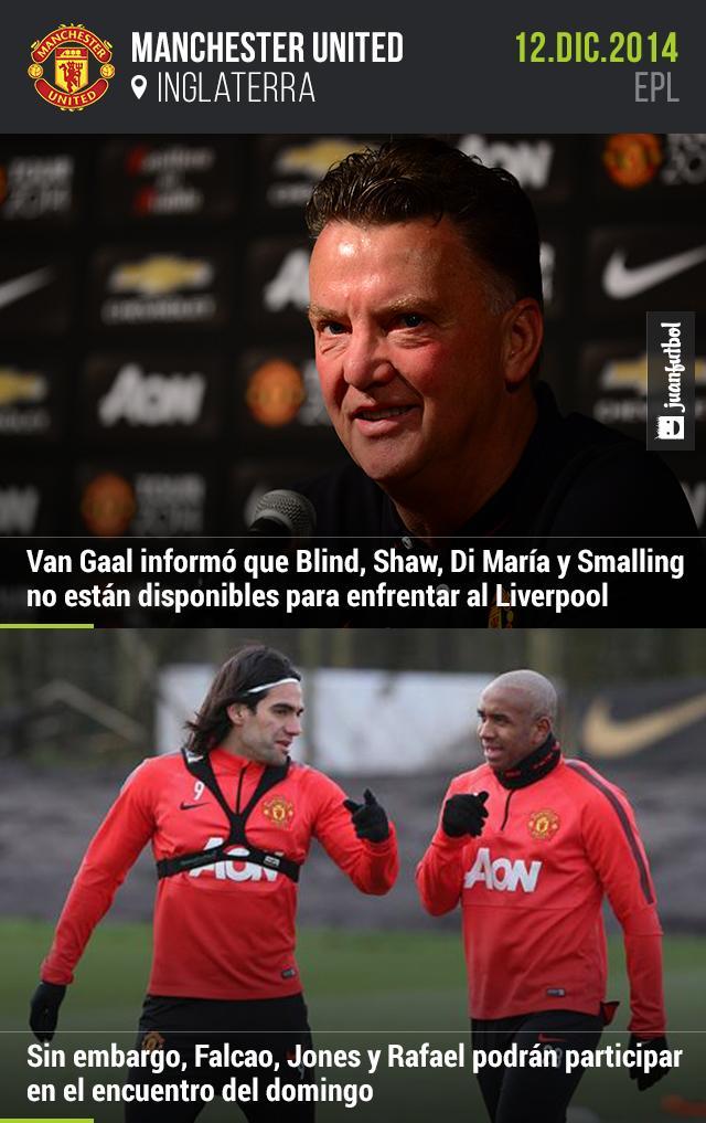 Louis Van Gaal informó que Blind, Shaw, Di María y Smalling no estarán disponibles para enfrentar al Liverpool. Pero Falcao, Jones y Rafael podrán regresar