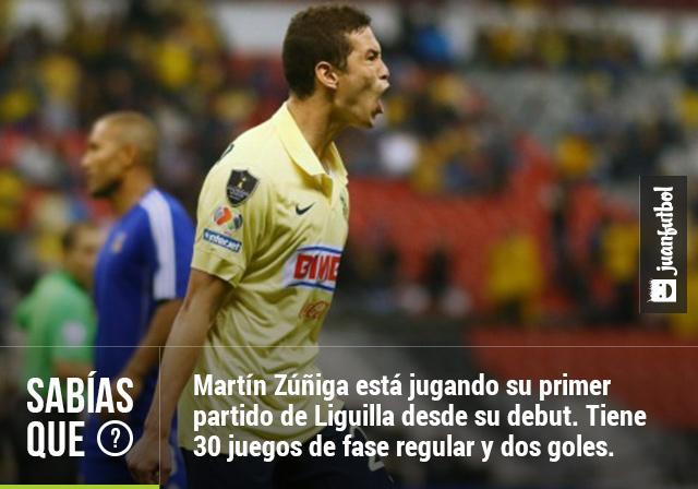 Martín Zúñiga está jugando su primer partido de Liguilla desde su debut. Tiene 30 juegos de fase regular y dos goles