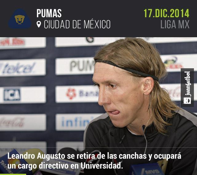 Leandro Augusto ocupará un cargo directivo en Pumas tras decir adiós a las canchas.