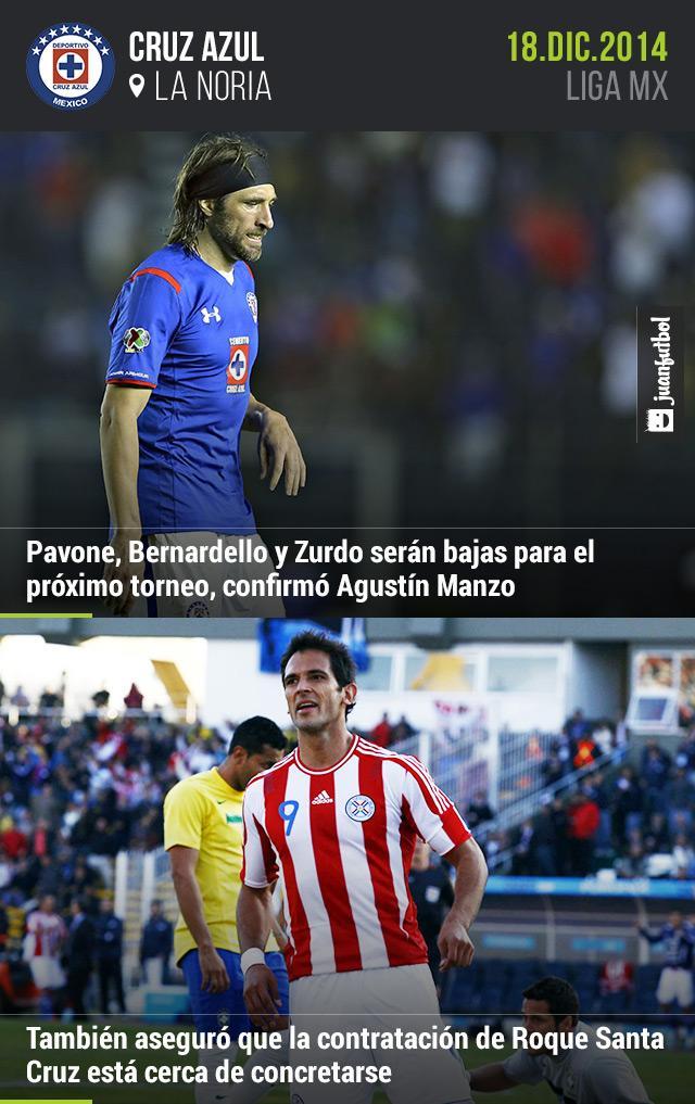 Mario Pavone, Bernardello y Aníbal Zurdo son bajas de Cruz Azul; Roque Santa Cruz está cerca de llegar