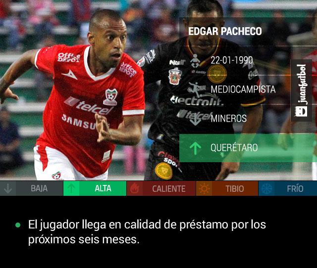Edgar Pacheco llega a Querétaro en calidad de préstamo por los próximos seis meses.