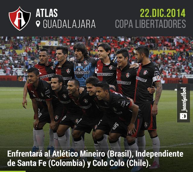 Atlas enfrentará al Atlético Mineiro (Brasil), Independiente de Santa Fe (Colombia) y Colo Colo (Chile).