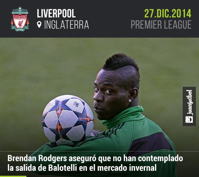 Brendan Rodgers aseguró que Balotelli no saldrá del Liverpool en el mercado invernal