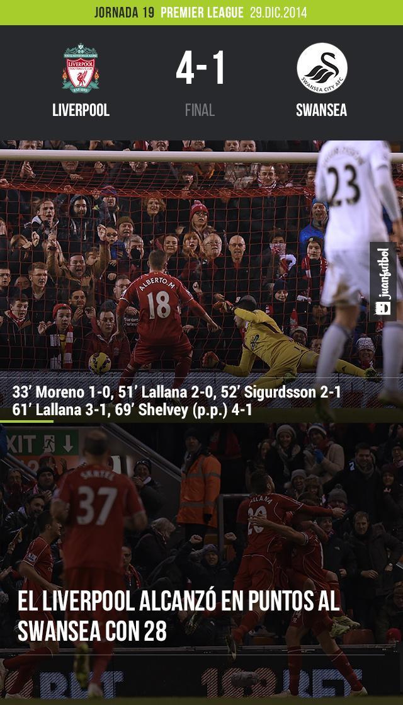 Liverpoool le gana 4-1 al Swansea.