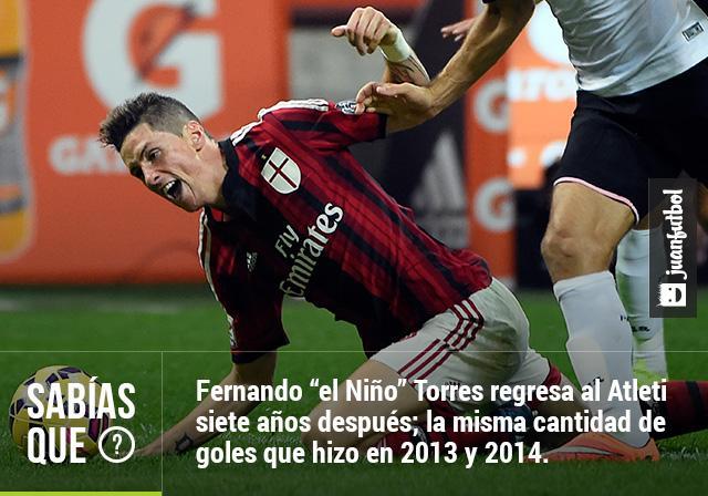 Fernando 'el Niño' Torres marcó siete goles entre 2013 y 2014, seis con el Chelsea y uno con el Milan