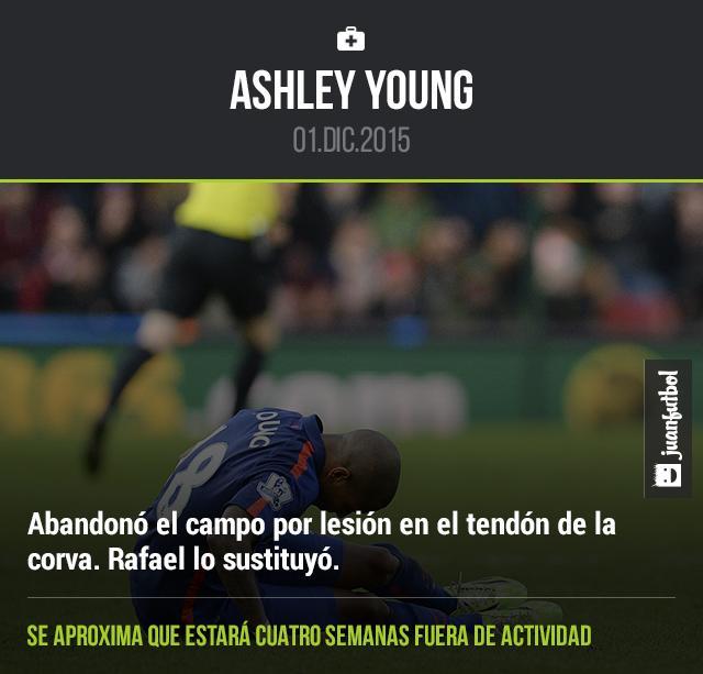 Ashley Young se lesionó durante el encuentro ante el Stoke City