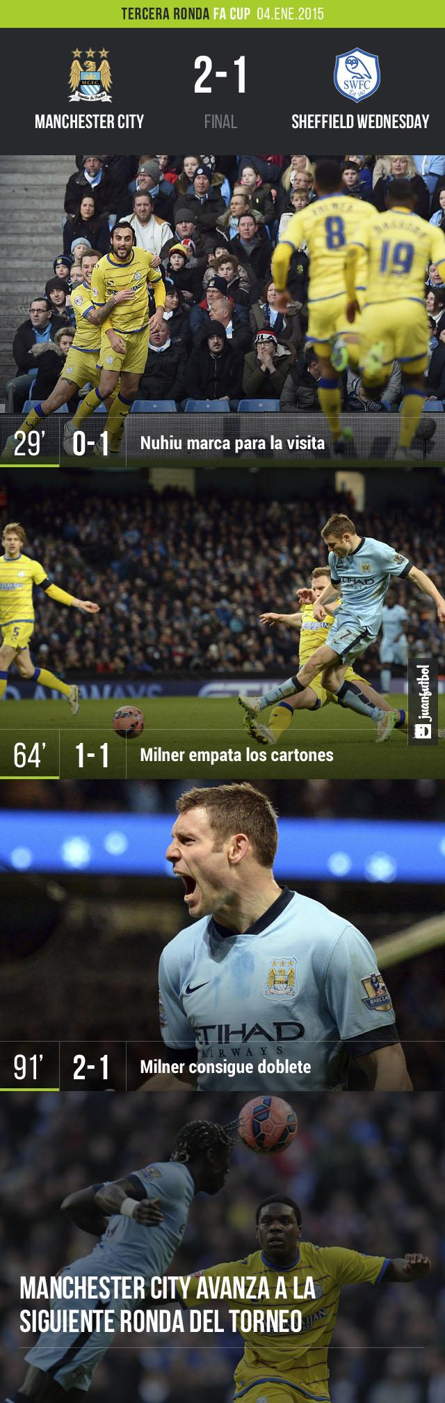 Manchester City sufrió para derrotar 2-1 al Sheffield Wednesday en la FA Cup.