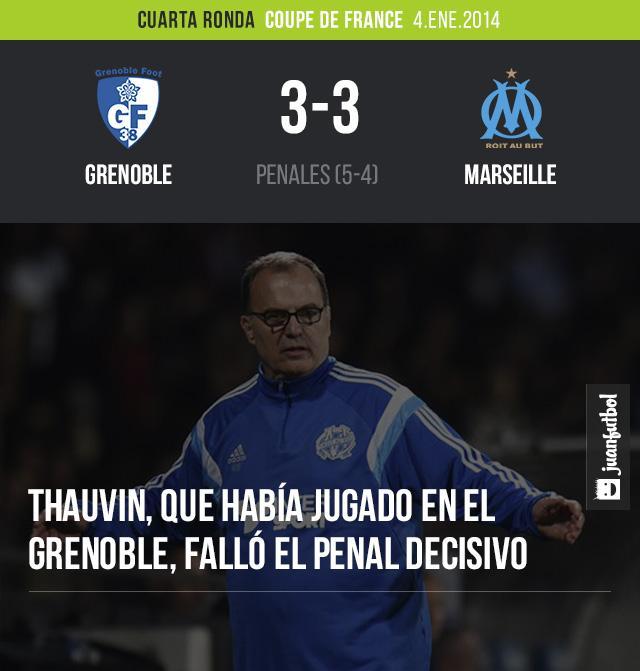 En penales el Olympique Marseille de Marcelo Bielsa fue echado de la Copa de Francia por el Grenoble
