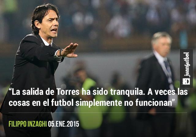 """El técnico del Milan habló sobre la salida del 'Niño' Torres del club. """"La salida de Torres ha sido tranquila. A veces las cosas en el futbol simplemente no funcionan"""", Filippo Inzaghi"""