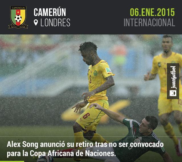 Alex Song anunció su retiro de la Selección Camerunesa tras no ser convocado para la Copa Africana de Naciones.