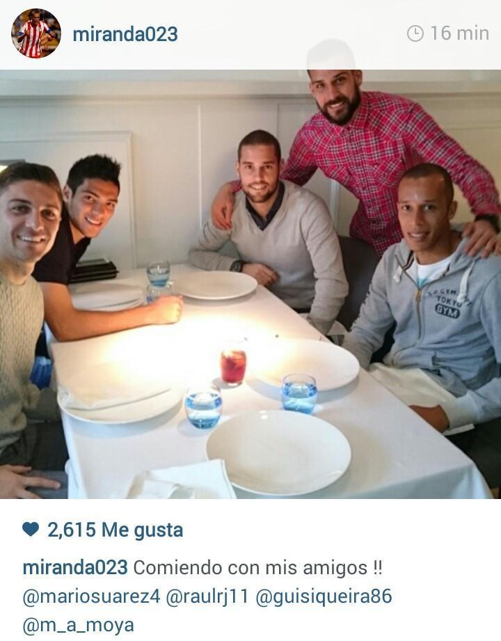 Comida de los jugadores del Atlético de Madrid.