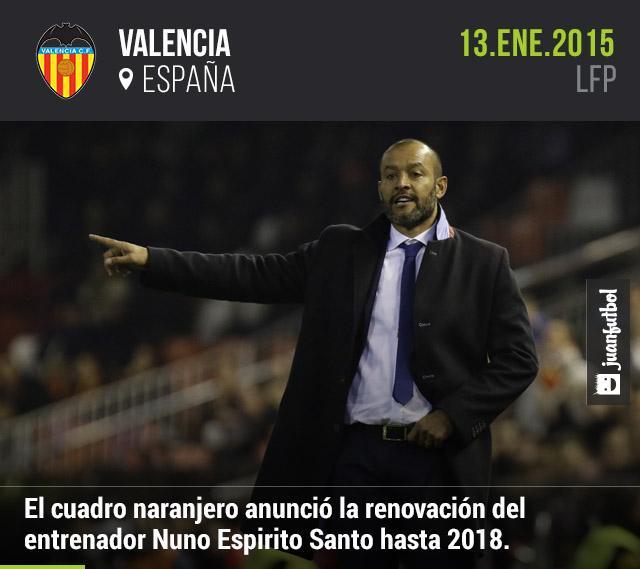 El entrenador portugués Nuno Espirito Santo firmó su renovación  con el Valencia por tres años más